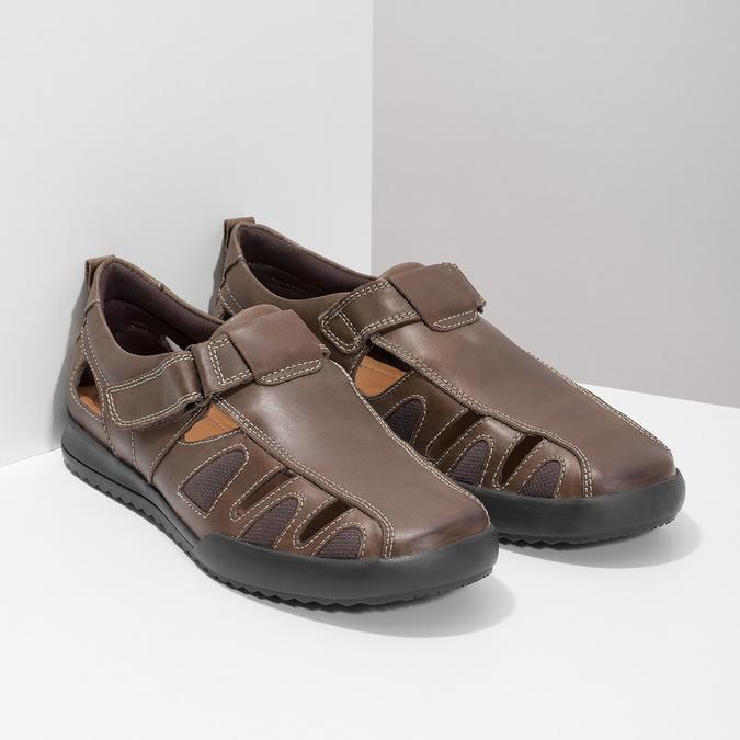 Kožené pánské sandály comfit, hnědá, 856-4605 - 26