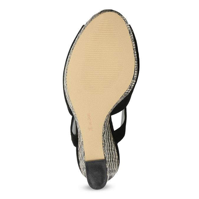 Dámské sandály na klínku se vzorem černé insolia, černá, 769-6622 - 18