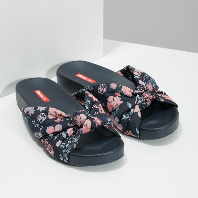 Nazouváky s květinovým vzorem bata-red-label, modrá, 569-9605 - 26