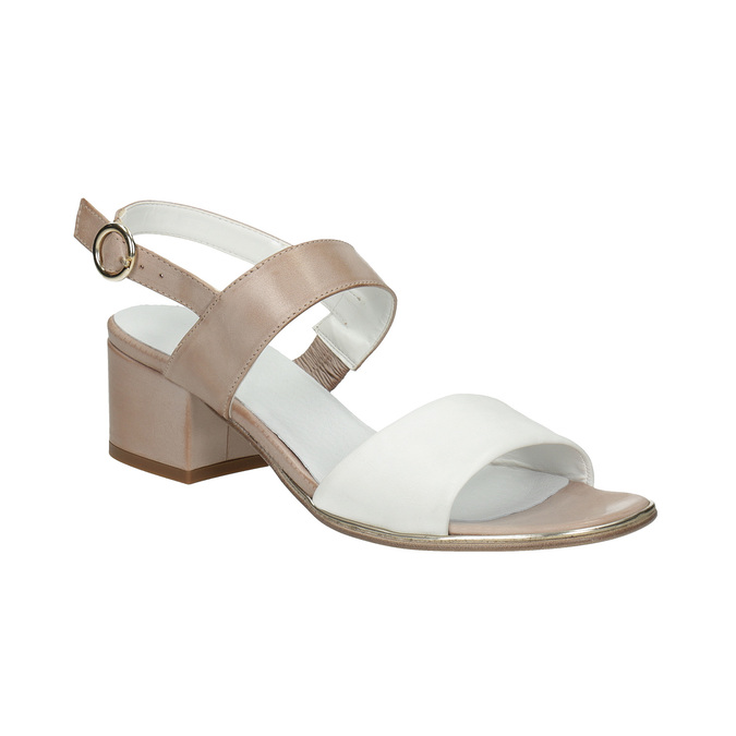 Kožené sandály na nízkém podpatku bata, béžová, 666-8626 - 13