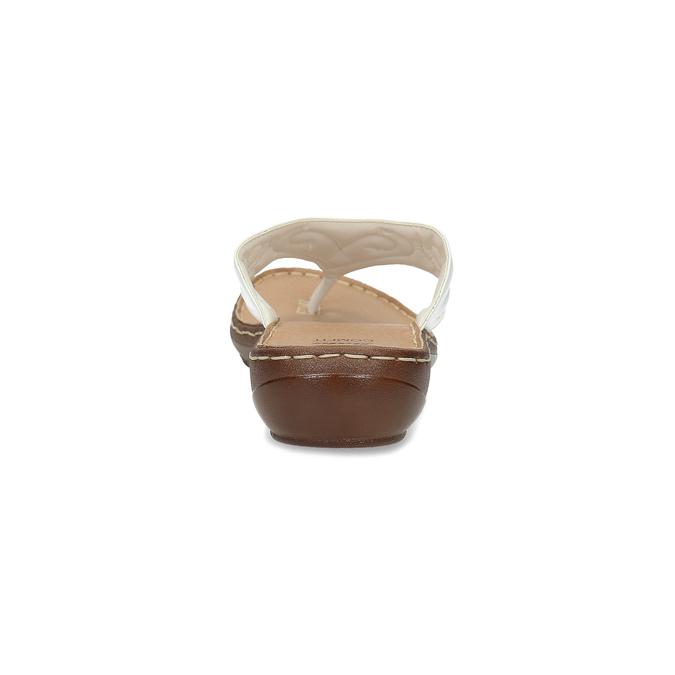 Bílé kožené dámské žabky comfit, bílá, 566-1632 - 15