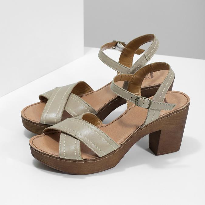 Kožené sandály na dřevěném podpatku béžové comfit, béžová, 666-8624 - 16