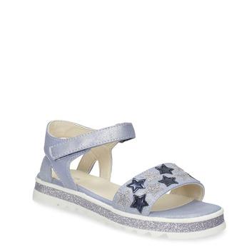 Modré dívčí sandály s hvězdičkami mini-b, modrá, 361-9172 - 13