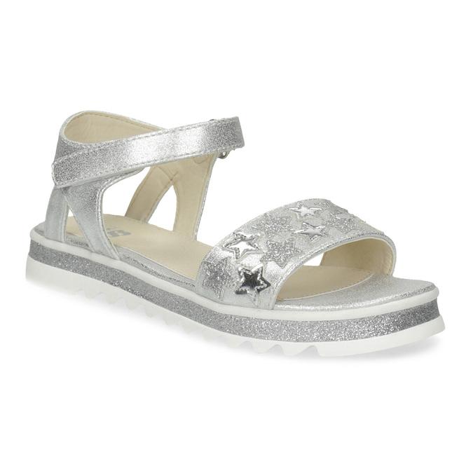 Stříbrné dívčí sandály s hvězdičkami mini-b, stříbrná, 361-1172 - 13