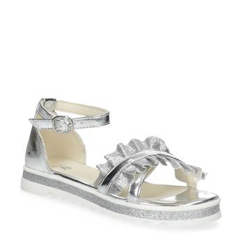 Stříbrné dívčí sandály s volánem mini-b, stříbrná, 361-1253 - 13