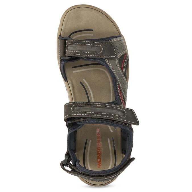 Kožené sandály na suché zipy hnědé weinbrenner, hnědá, 866-4642 - 17