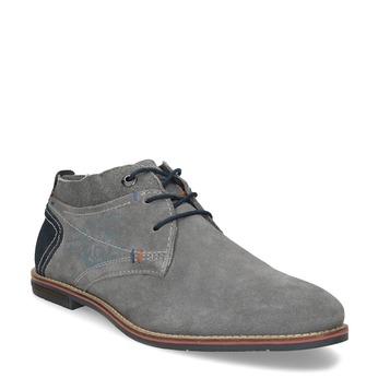 Chukka boots z broušené šedé kůže bugatti, šedá, 823-2015 - 13