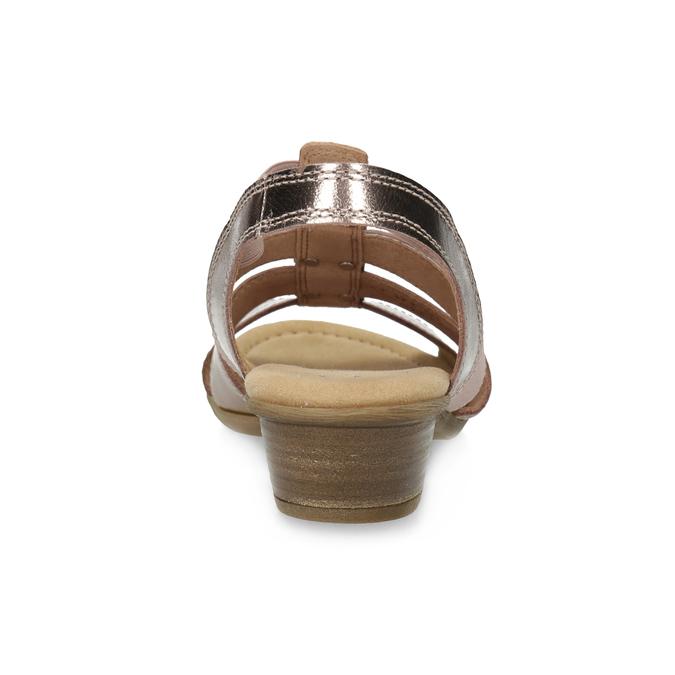 Kožené dámské sandály na nízkém podpatku gabor, růžová, 666-8338 - 15