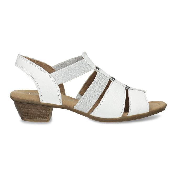 Bílé kožené sandály šíře G gabor, bílá, 666-1338 - 19