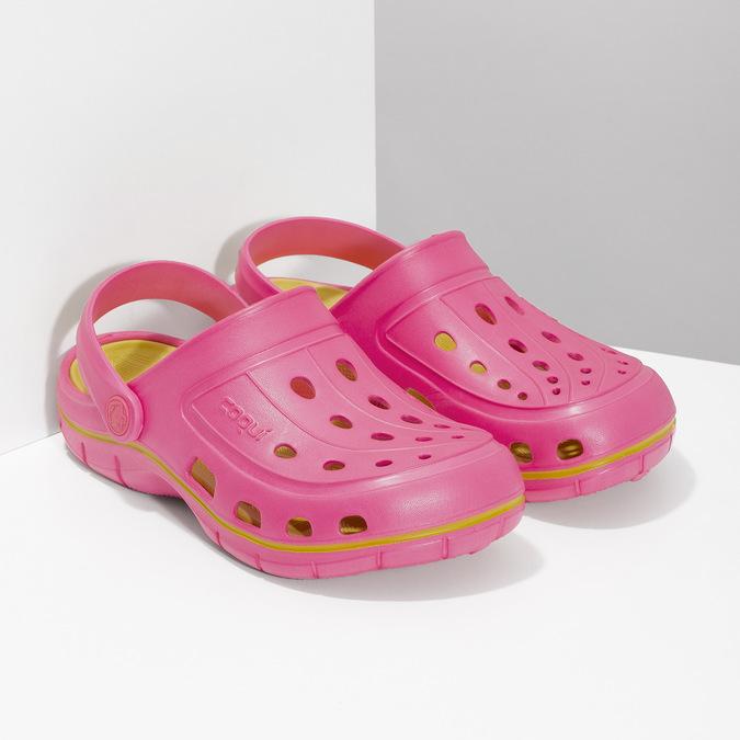 Růžové sandály typu Clogs coqui, růžová, 372-5656 - 26
