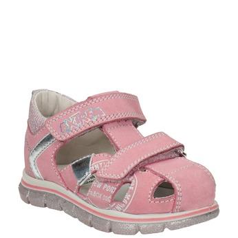 Dívčí kožené sandály s potiskem mini-b, růžová, 166-5604 - 13