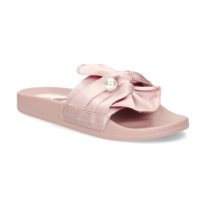 Růžové saténové nazouváky s perličkami bata, růžová, 569-5615 - 13