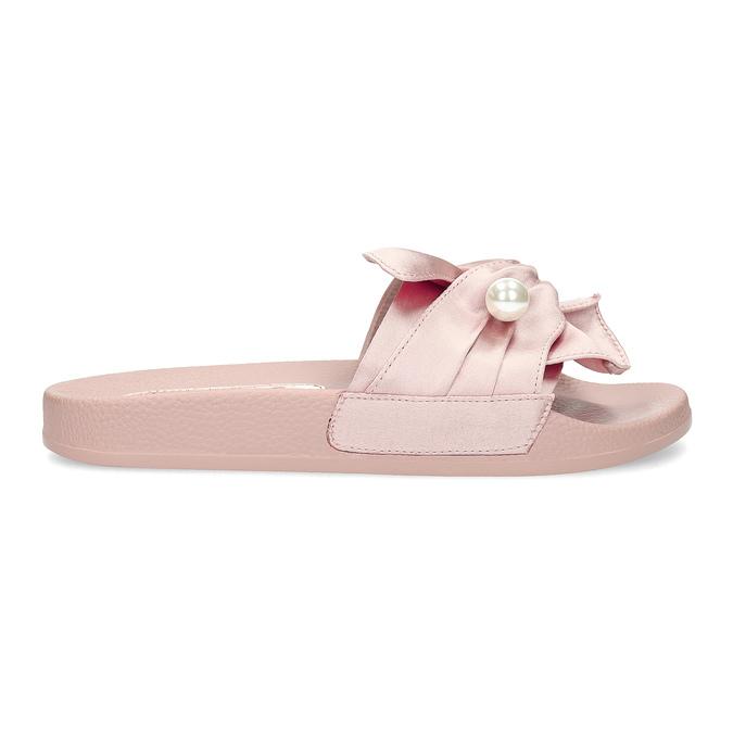 Růžové saténové nazouváky s perličkami bata, růžová, 569-5615 - 19