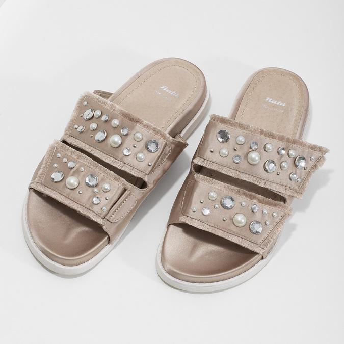 Nazouváky s kamínky a perličkami zlaté bata, béžová, 569-8618 - 16