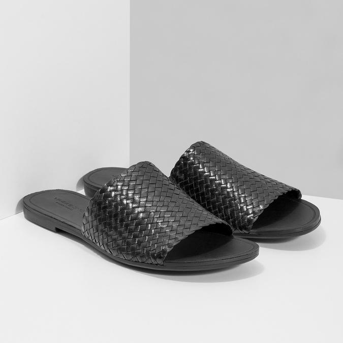 Kožené nazouváky s pleteným vzorem vagabond, černá, 564-6023 - 26