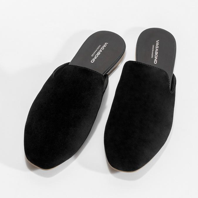 Pantofle z broušené kůže černé vagabond, černá, 573-6004 - 16