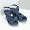 Modré kožené sandály na klínku flexible, modrá, 666-9617 - 26