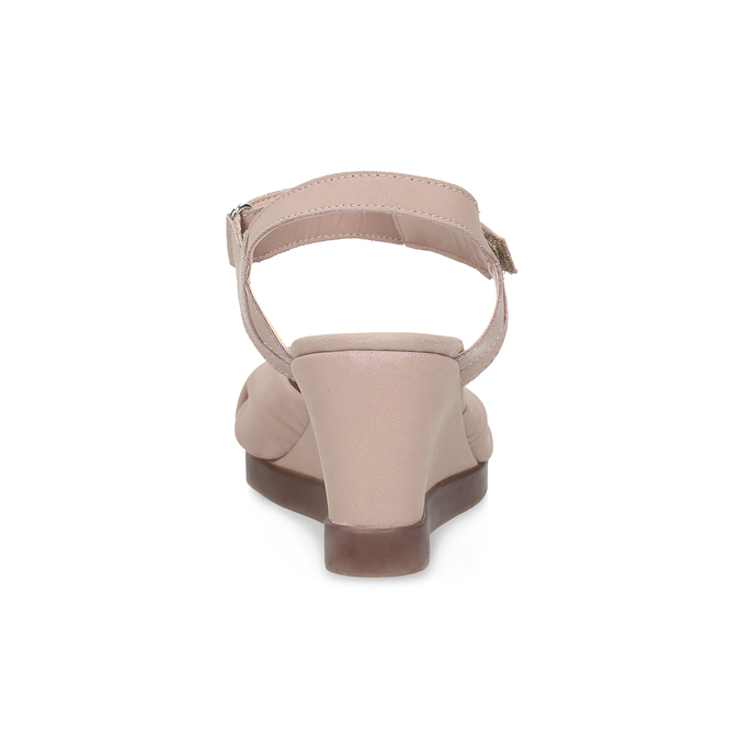 Béžové kožené sandály na klínku flexible, béžová, 666-5617 - 15