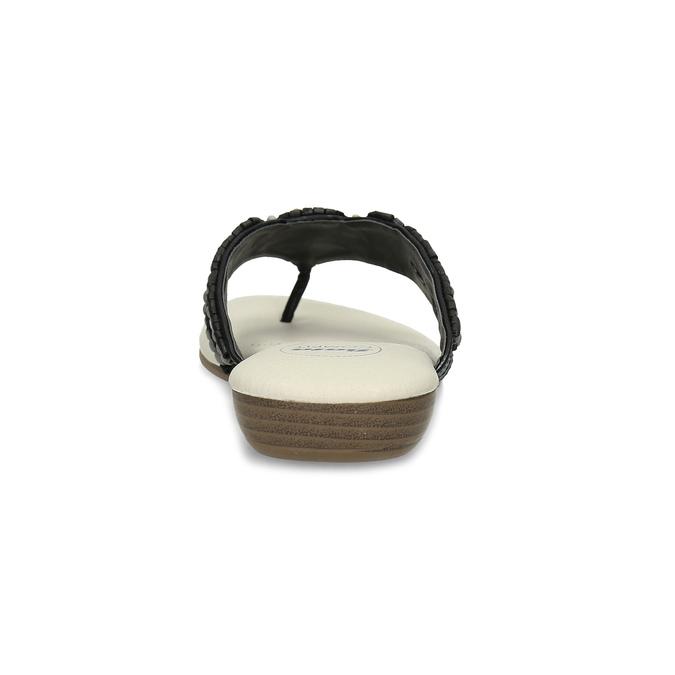 Černé dámské žabky s přírodními korálky comfit, černá, 561-6611 - 15