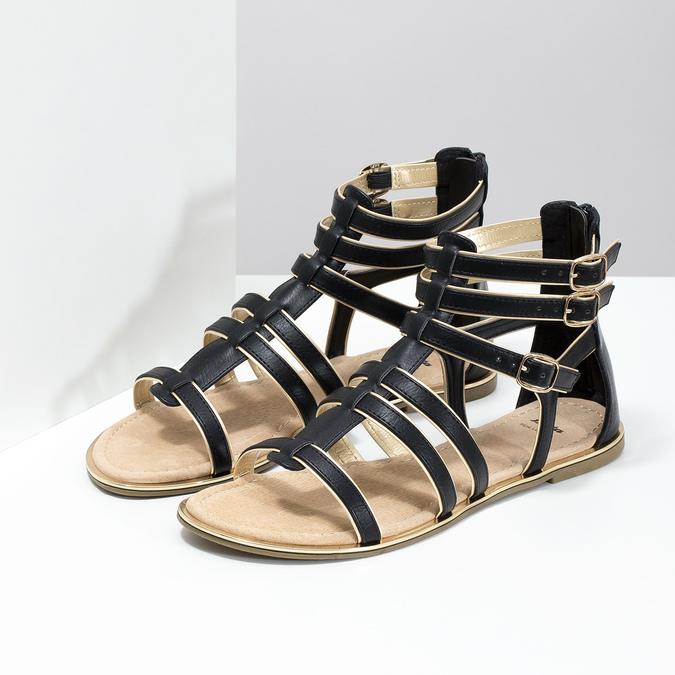 Dámské černo-zlaté sandály bata, černá, 561-6620 - 26