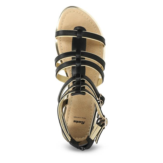 Dámské černo-zlaté sandály bata, černá, 561-6620 - 17