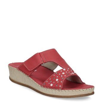 Červené kožené nazouváky na klínku s kamínky comfit, červená, 574-5438 - 13