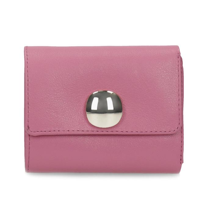 Růžová kožená peněženka se zlatým zapínáním vagabond, růžová, 966-5063 - 26