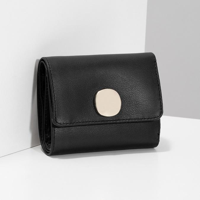 Černá kožená peněženka se zlatým zapínáním vagabond, černá, 966-6063 - 17