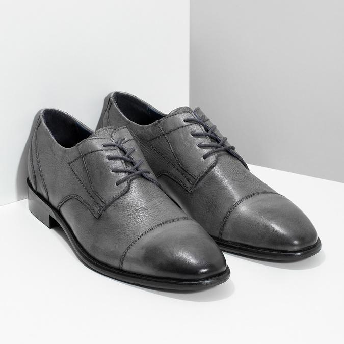 Kožené šedé pánské Derby polobotky bata, šedá, 826-2782 - 26