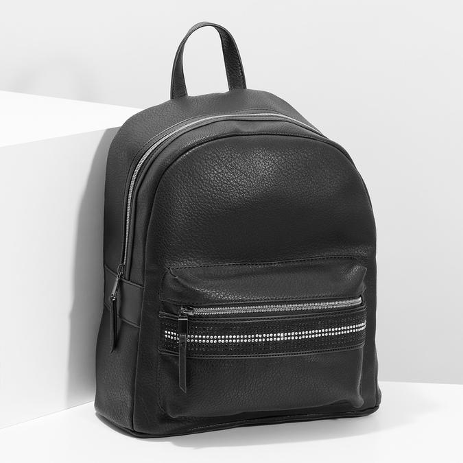 Černý dámský batoh s kamínky bata, černá, 961-6867 - 17