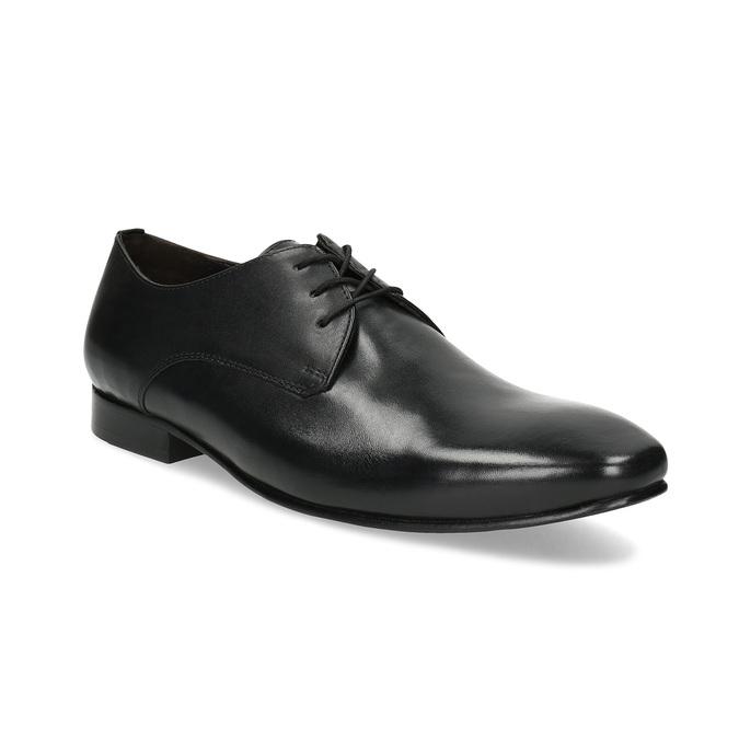 Černé kožené polobotky v Derby střihu bata, černá, 824-6606 - 13