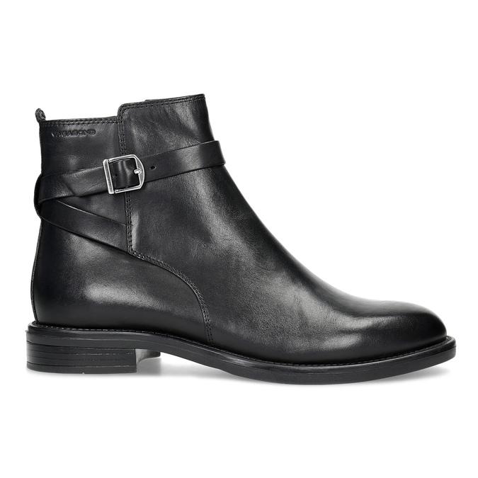 Kožená dámská kotníčková obuv s přezkou vagabond, černá, 514-6140 - 19