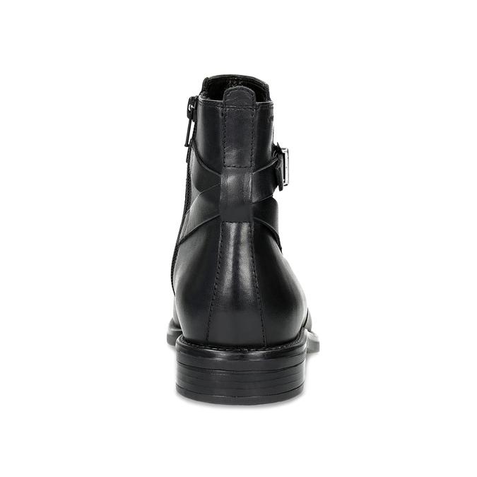 Kožená dámská kotníčková obuv s přezkou vagabond, černá, 514-6140 - 15