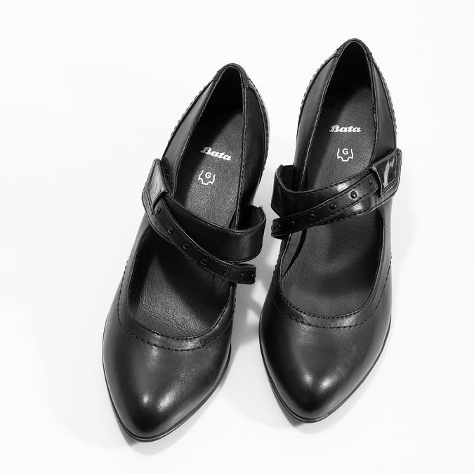 Černé lodičky šíře G s asymetrickým páskem, černá, 626-6649 - 16