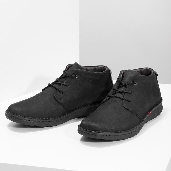Pánská kotníčková obuv z broušené kůže bata, černá, 846-6716 - 16