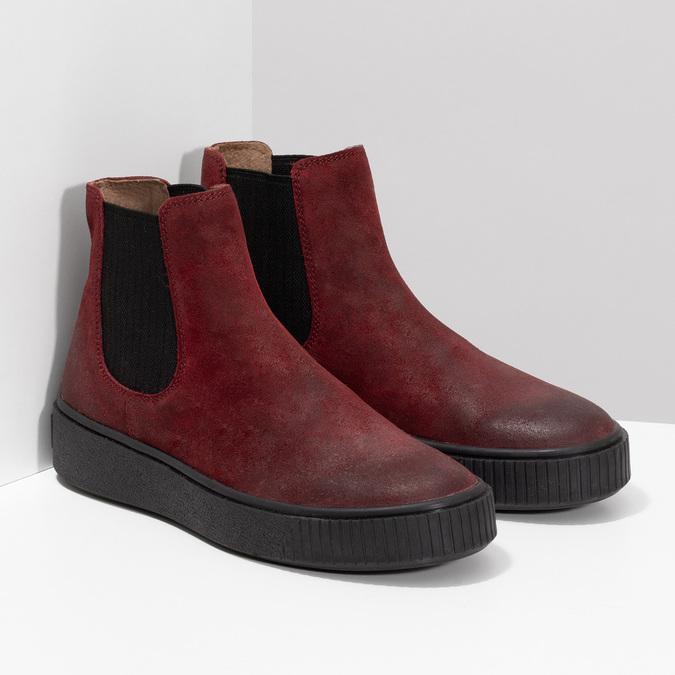 Kožená vínová dámská Chelsea obuv bata, červená, 596-5713 - 26