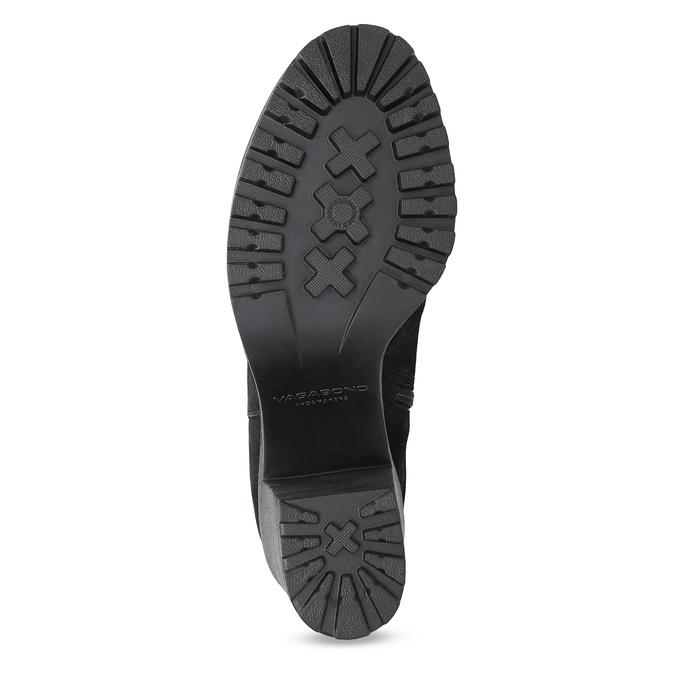 Kotníčkové kožené kozačky na stabilním podpatku vagabond, černá, 716-6101 - 18