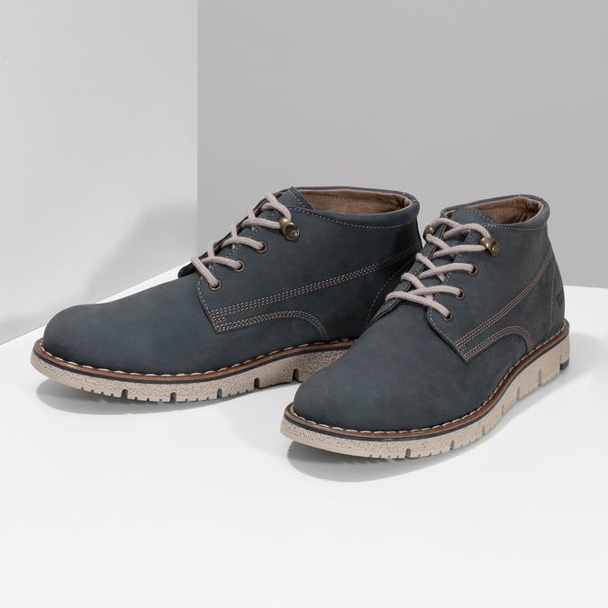 Pánská kožená kotníčková modrá obuv weinbrenner, modrá, 846-9658 - 16