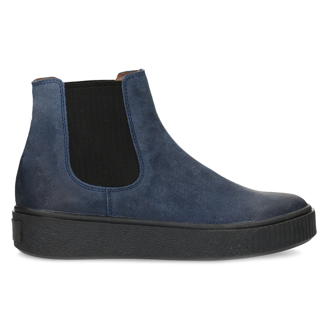Modrá dámská kožená Chelsea obuv bata, modrá, 596-9713 - 19