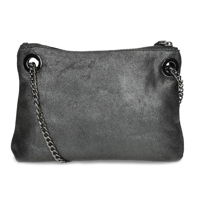 Kožená Crossbody kabelka s řetízkem bata, stříbrná, 964-1602 - 16