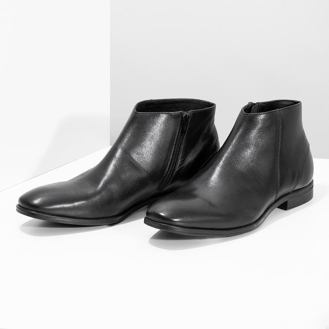 Kožená kotníčková obuv elegantní bata, černá, 824-6634 - 16