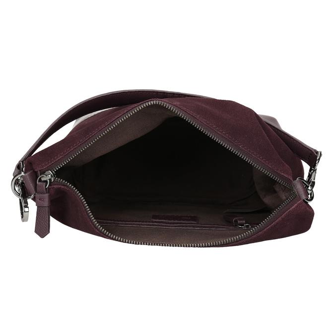 Vínová kožená Hobo kabelka s popruhem bata, červená, 963-5600 - 15