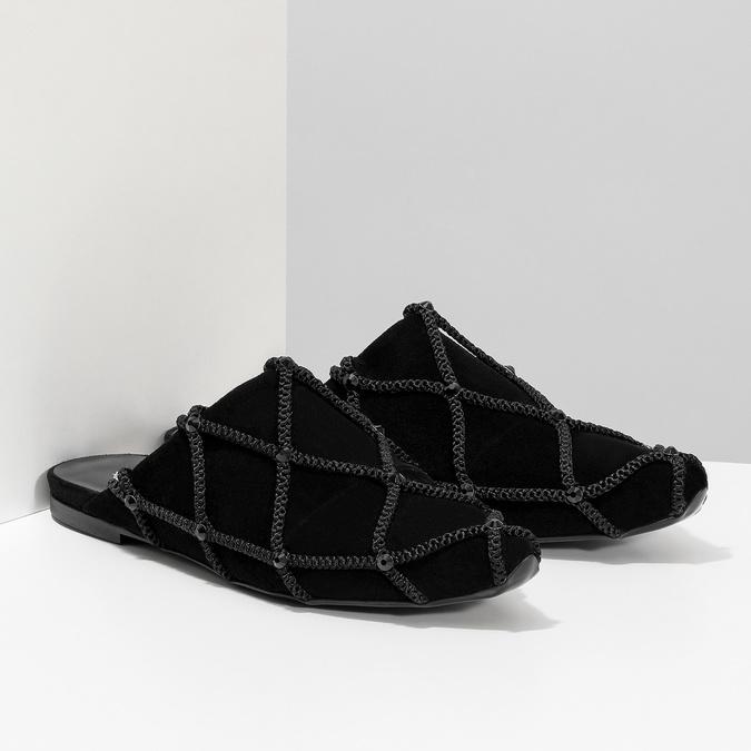 Kožené dámské nazouváky s krystaly Preciosa bata, černá, 523-6264 - 26