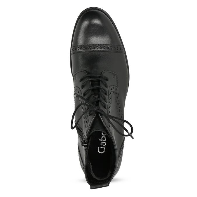 Kotníčková dámská obuv s Brogue zdobením gabor, černá, 624-6031 - 17