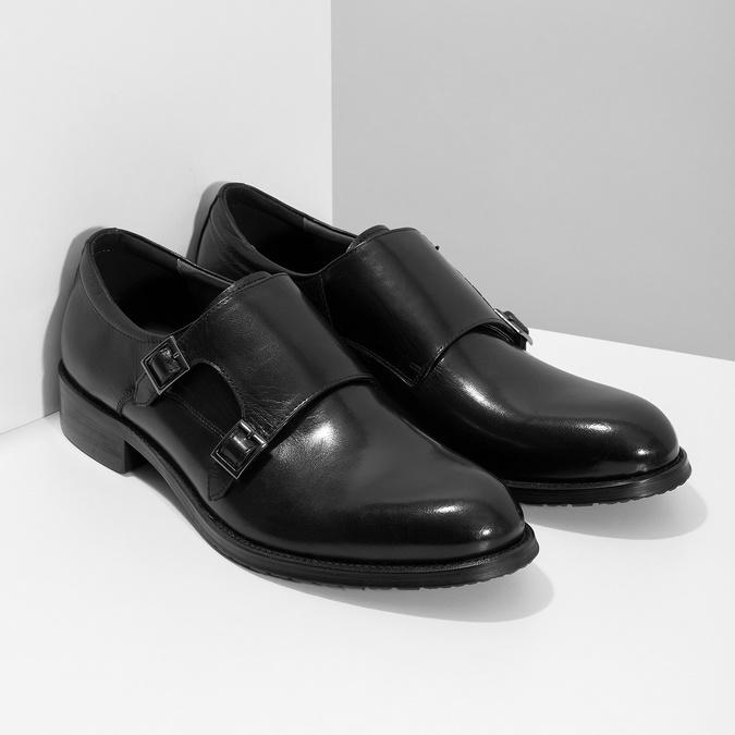 Pánské kožené Monk shoes černé bata, černá, 824-6632 - 26