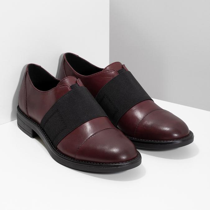 Vínové dámské polobotky s elastickým pruhem bata, červená, 514-5602 - 26