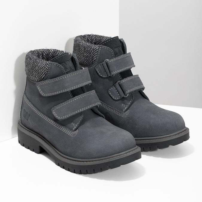 Dětská kožená kotníčková obuv na suché zipy weinbrenner, modrá, 216-9201 - 26