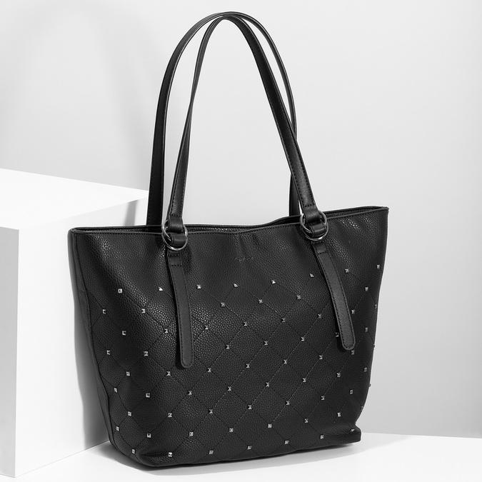 Černá kabelka se cvočky gabor-bags, černá, 961-6036 - 17