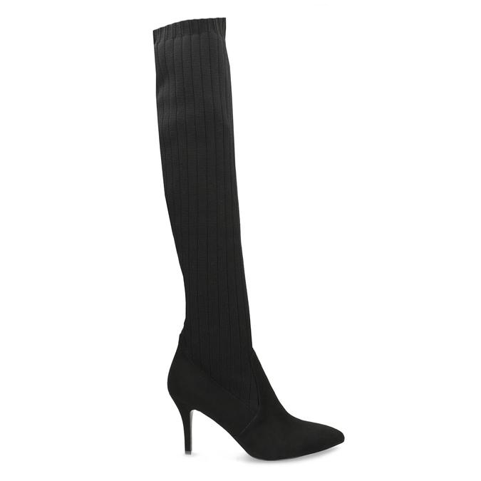 Černé ponožkové kozačky na jehlovém podpatku bata, černá, 799-6639 - 19