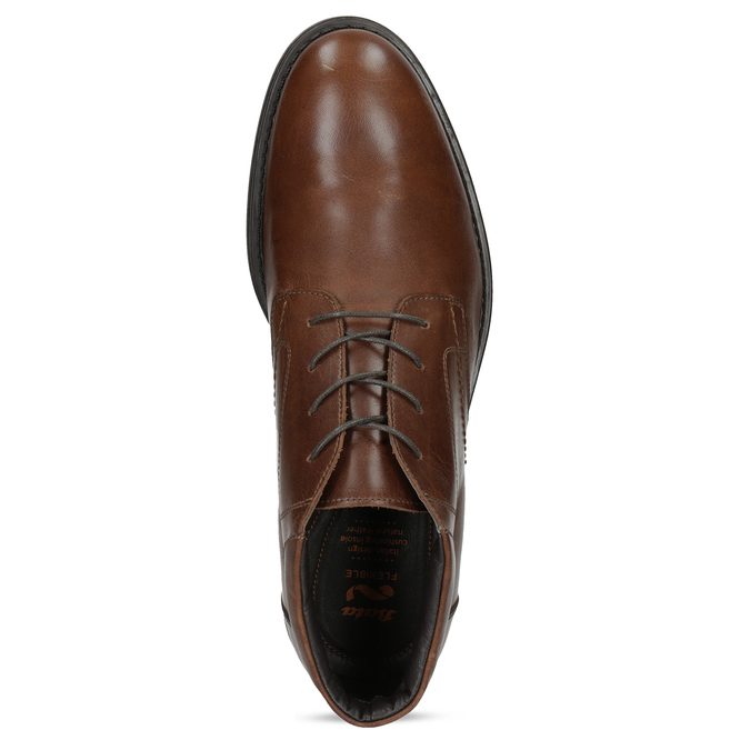 Kotníčková kožená pánská obuv hnědá flexible, hnědá, 896-4707 - 17